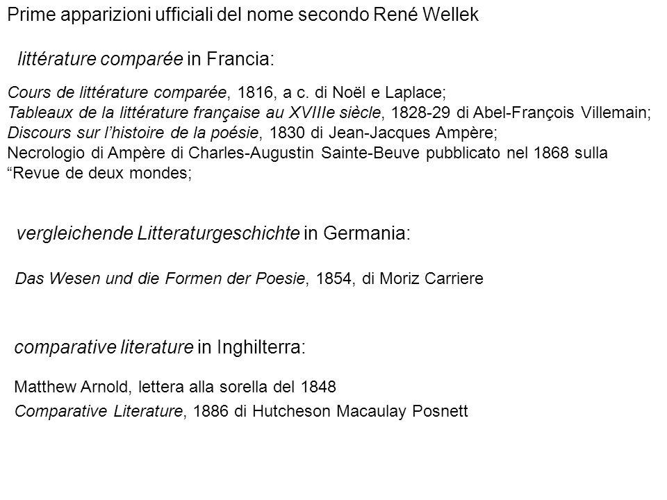 Prime apparizioni ufficiali del nome secondo René Wellek littérature comparée in Francia: Cours de littérature comparée, 1816, a c. di Noël e Laplace;