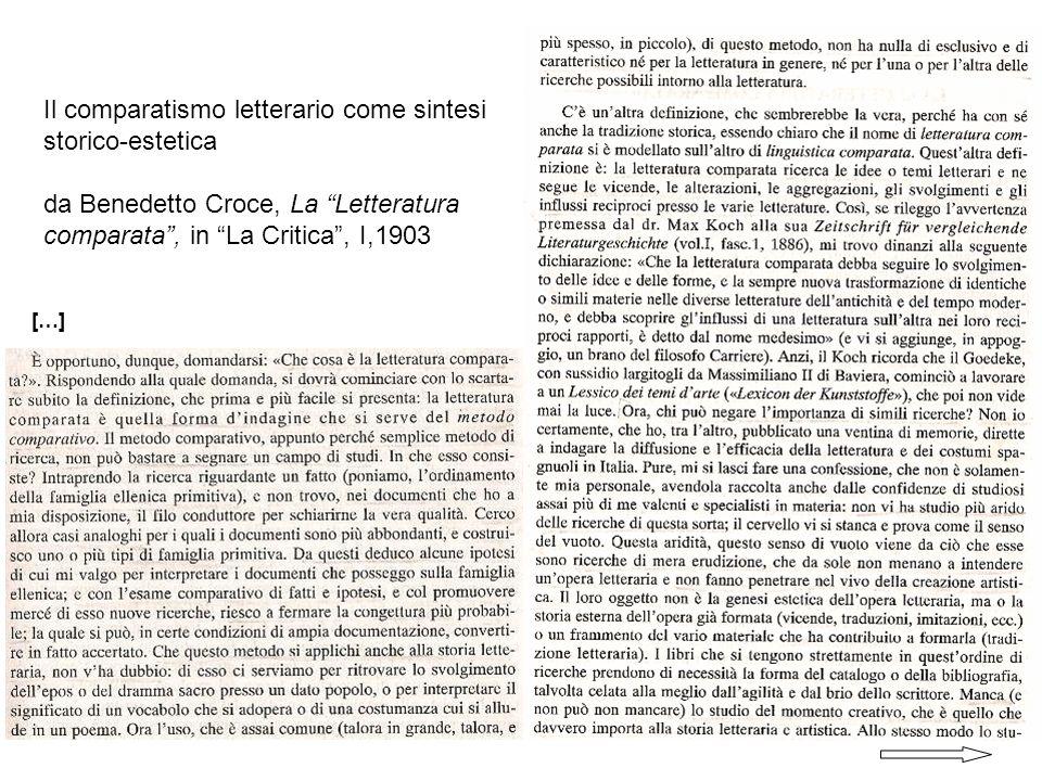 Il comparatismo letterario come sintesi storico-estetica da Benedetto Croce, La Letteratura comparata, in La Critica, I,1903 […]