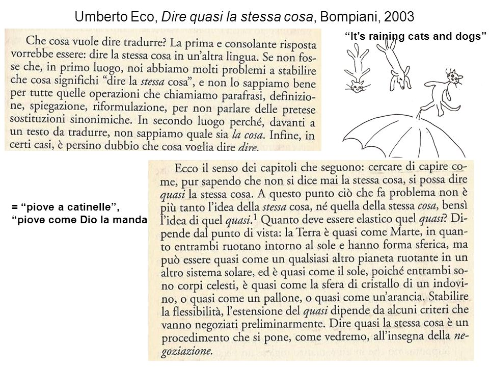 Umberto Eco, Dire quasi la stessa cosa, Bompiani, 2003 Its raining cats and dogs = piove a catinelle, piove come Dio la manda