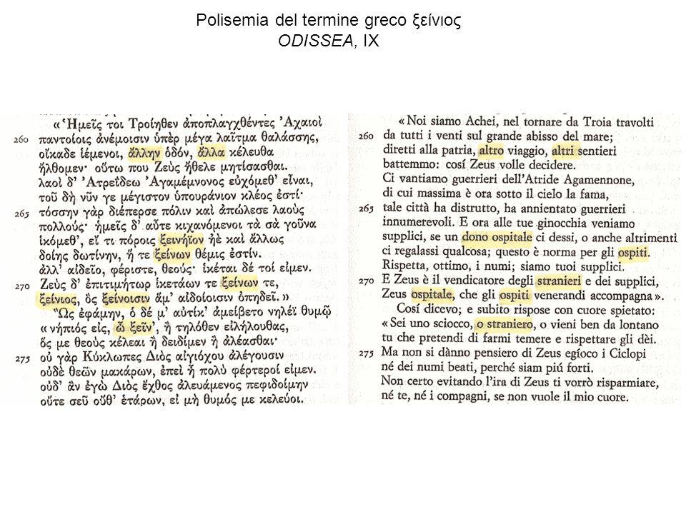 Polisemia del termine greco ξείνιος ODISSEA, IX