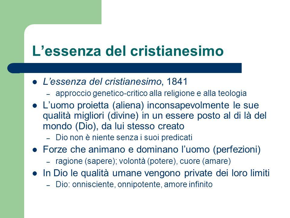 Lessenza del cristianesimo Lessenza del cristianesimo, 1841 – approccio genetico-critico alla religione e alla teologia Luomo proietta (aliena) incons