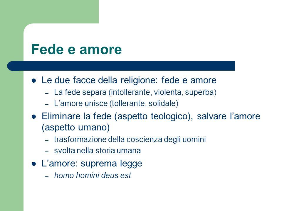 Fede e amore Le due facce della religione: fede e amore – La fede separa (intollerante, violenta, superba) – Lamore unisce (tollerante, solidale) Elim