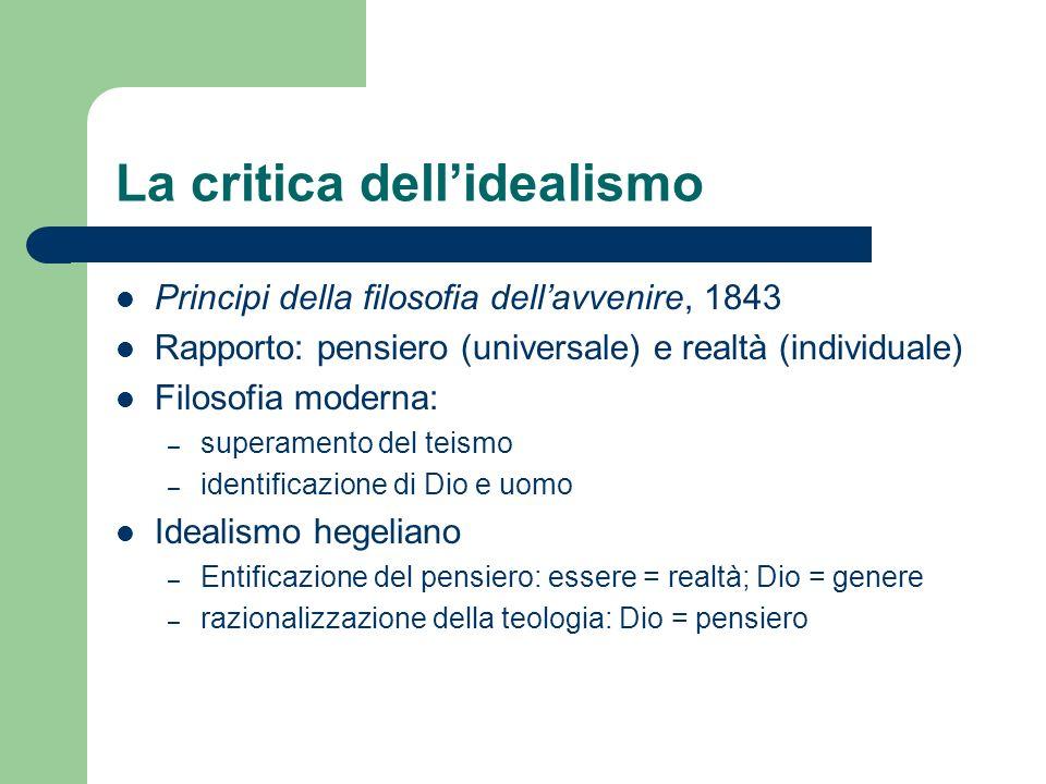 La critica dellidealismo Principi della filosofia dellavvenire, 1843 Rapporto: pensiero (universale) e realtà (individuale) Filosofia moderna: – super