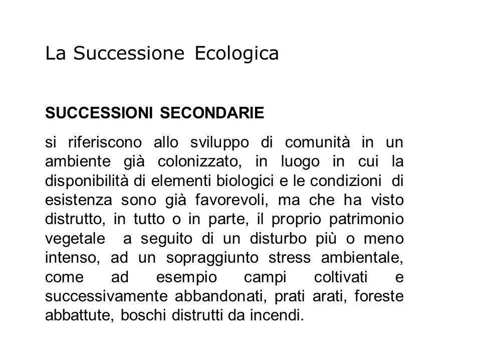 SUCCESSIONI SECONDARIE si riferiscono allo sviluppo di comunità in un ambiente già colonizzato, in luogo in cui la disponibilità di elementi biologici