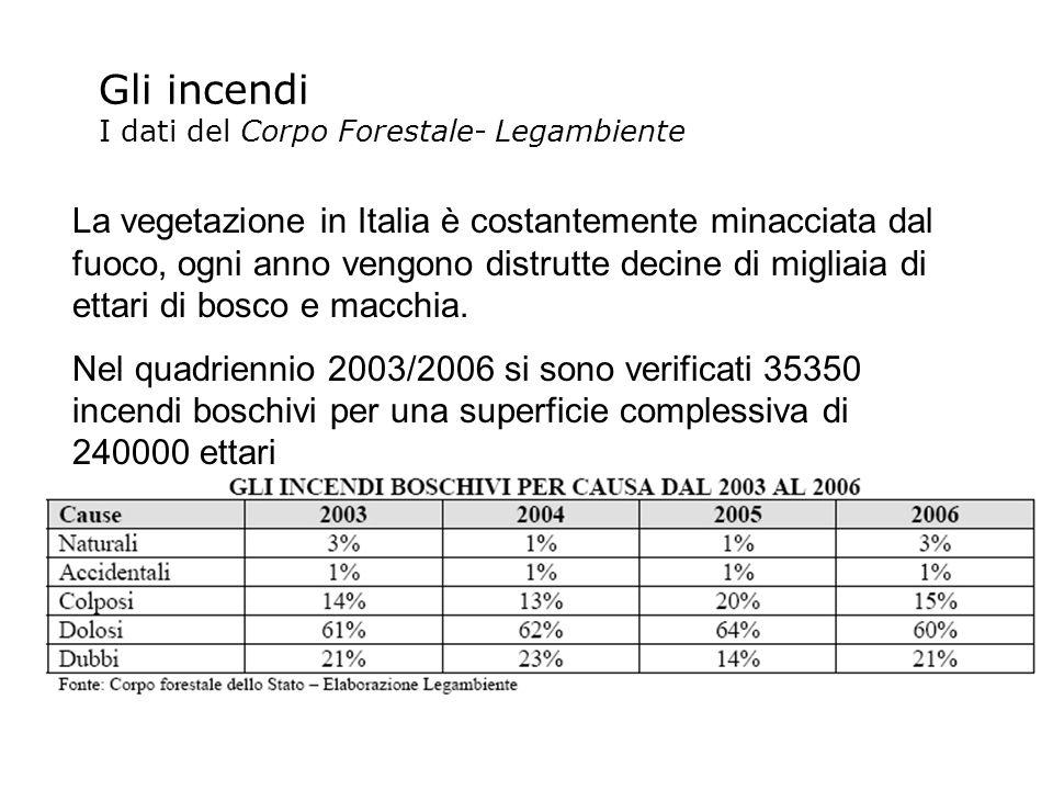 Gli incendi I dati del Corpo Forestale- Legambiente La vegetazione in Italia è costantemente minacciata dal fuoco, ogni anno vengono distrutte decine