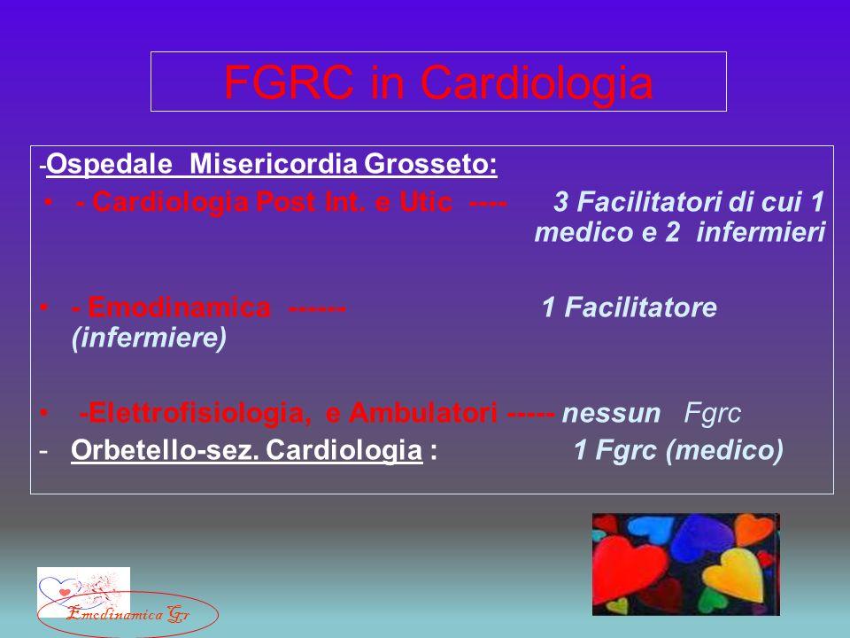 FGRC in Cardiologia - Ospedale Misericordia Grosseto: - Cardiologia Post Int. e Utic ---- 3 Facilitatori di cui 1 medico e 2 infermieri - Emodinamica