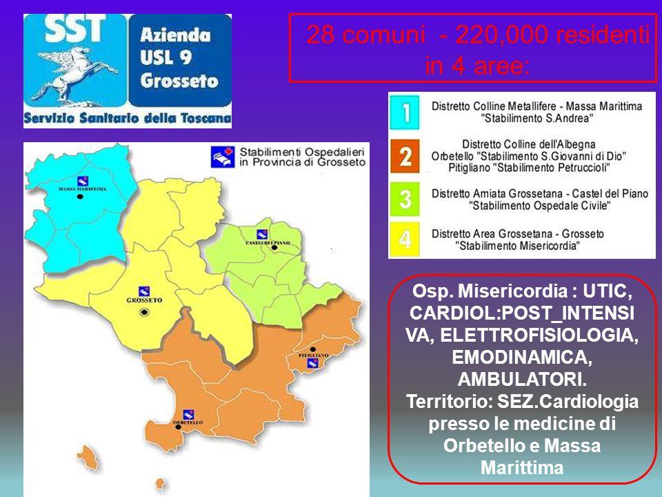 28 comuni - 220,000 residenti in 4 aree: Osp. Misericordia : UTIC, CARDIOL:POST_INTENSI VA, ELETTROFISIOLOGIA, EMODINAMICA, AMBULATORI. Territorio: SE