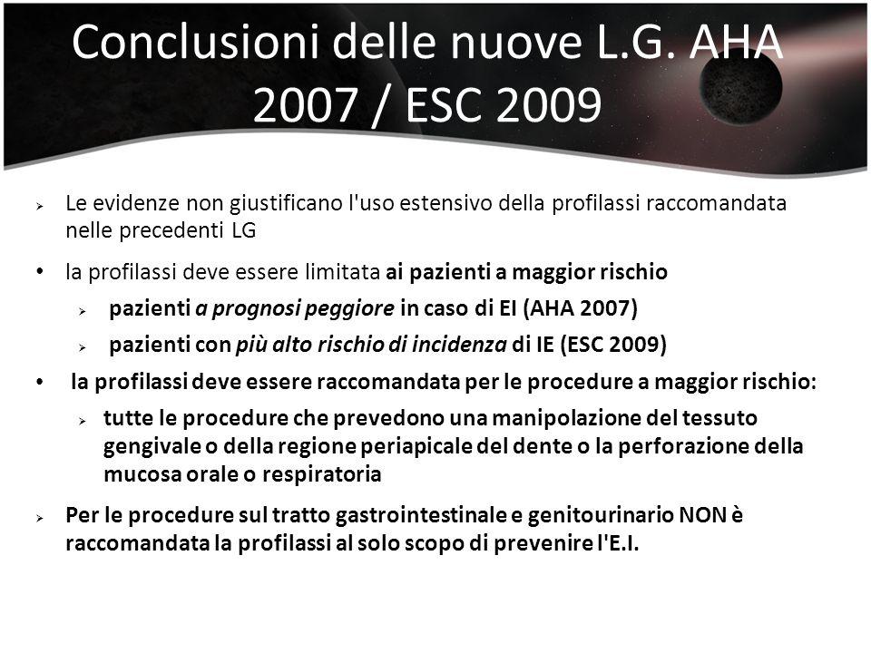 Conclusioni delle nuove L.G. AHA 2007 / ESC 2009 Le evidenze non giustificano l'uso estensivo della profilassi raccomandata nelle precedenti LG la pro