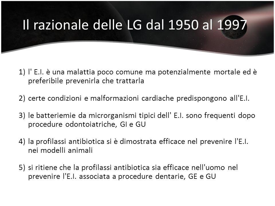 Il razionale delle LG dal 1950 al 1997 1)l' E.I. è una malattia poco comune ma potenzialmente mortale ed è preferibile prevenirla che trattarla 2)cert