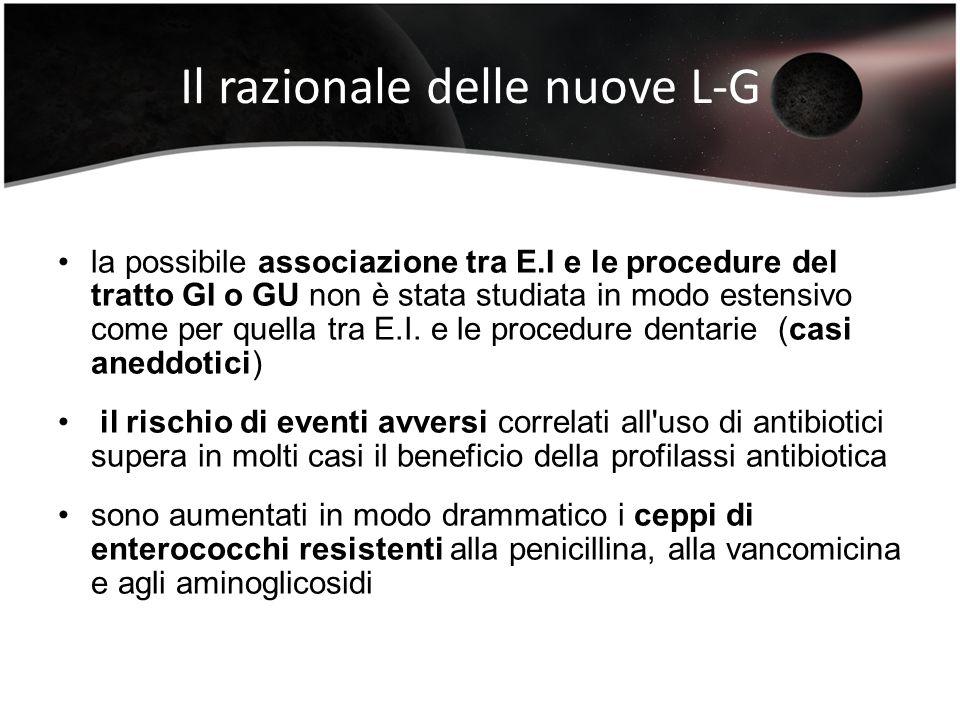 Il razionale delle nuove L-G la possibile associazione tra E.I e le procedure del tratto GI o GU non è stata studiata in modo estensivo come per quell