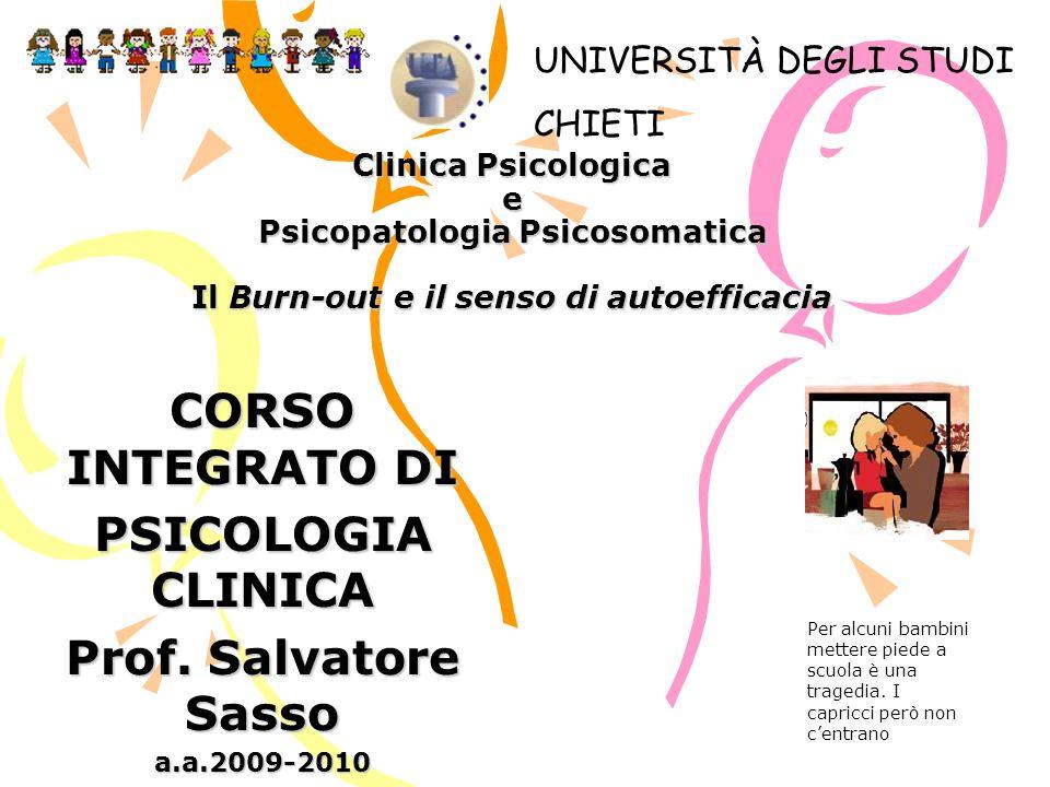 CORSO INTEGRATO DI PSICOLOGIA CLINICA Prof. Salvatore Sasso a.a.2009-2010 Clinica Psicologica e Psicopatologia Psicosomatica Il Burn-out e il senso di