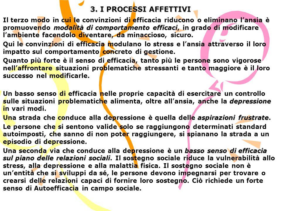 3. I PROCESSI AFFETTIVI modalità di comportamento efficaci Il terzo modo in cui le convinzioni di efficacia riducono o eliminano lansia è promuovendo
