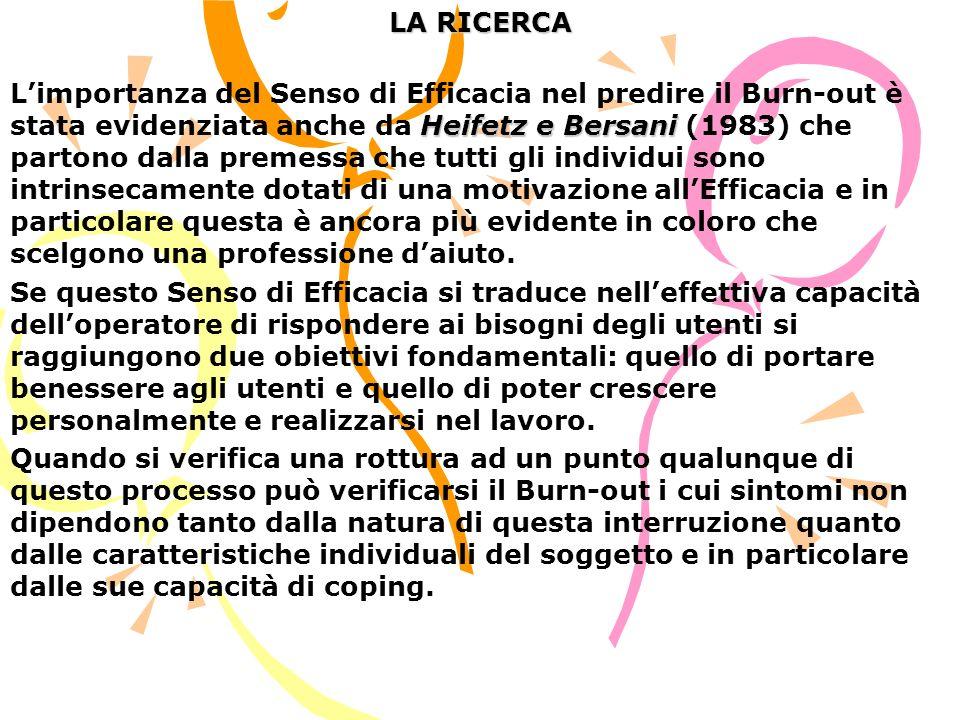 LA RICERCA Heifetz e Bersani Limportanza del Senso di Efficacia nel predire il Burn-out è stata evidenziata anche da Heifetz e Bersani (1983) che part