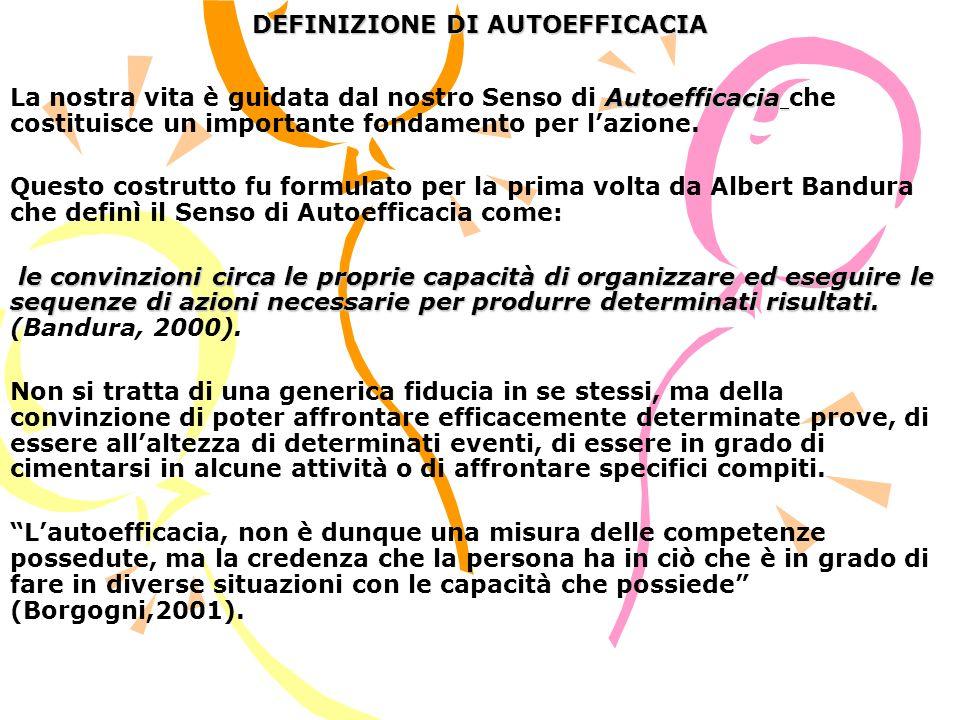 LO SVILUPPO DELLAUTOEFFICACIA Bandura (2000) ha analizzato attraverso numerose ricerche lo sviluppo della percezione di Autoefficacia nei diversi periodi della vita.