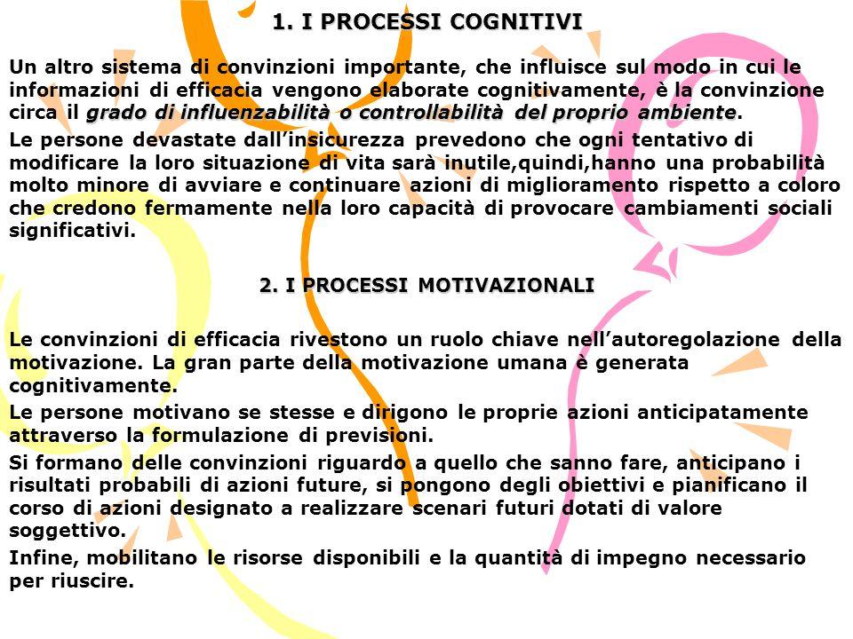 1. I PROCESSI COGNITIVI grado di influenzabilità o controllabilità del proprio ambiente Un altro sistema di convinzioni importante, che influisce sul