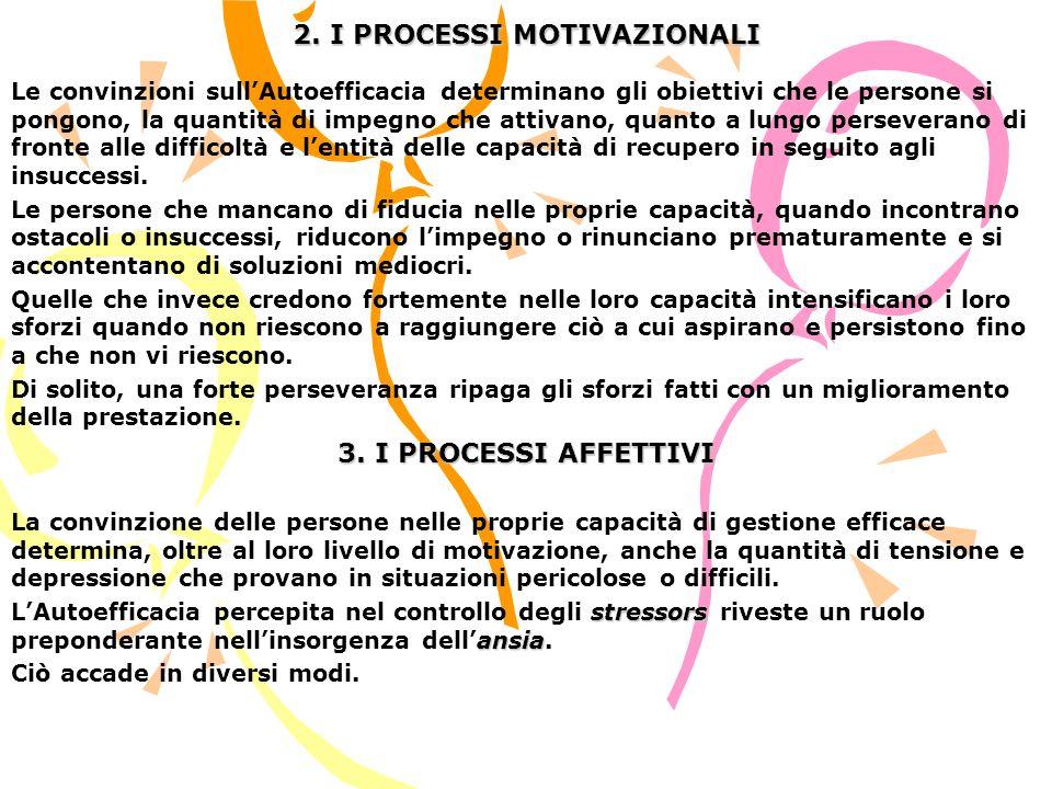 2. I PROCESSI MOTIVAZIONALI Le convinzioni sullAutoefficacia determinano gli obiettivi che le persone si pongono, la quantità di impegno che attivano,