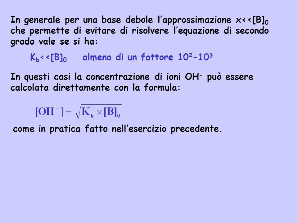 In generale per una base debole lapprossimazione x<<[B] 0 che permette di evitare di risolvere lequazione di secondo grado vale se si ha: K b <<[B] 0