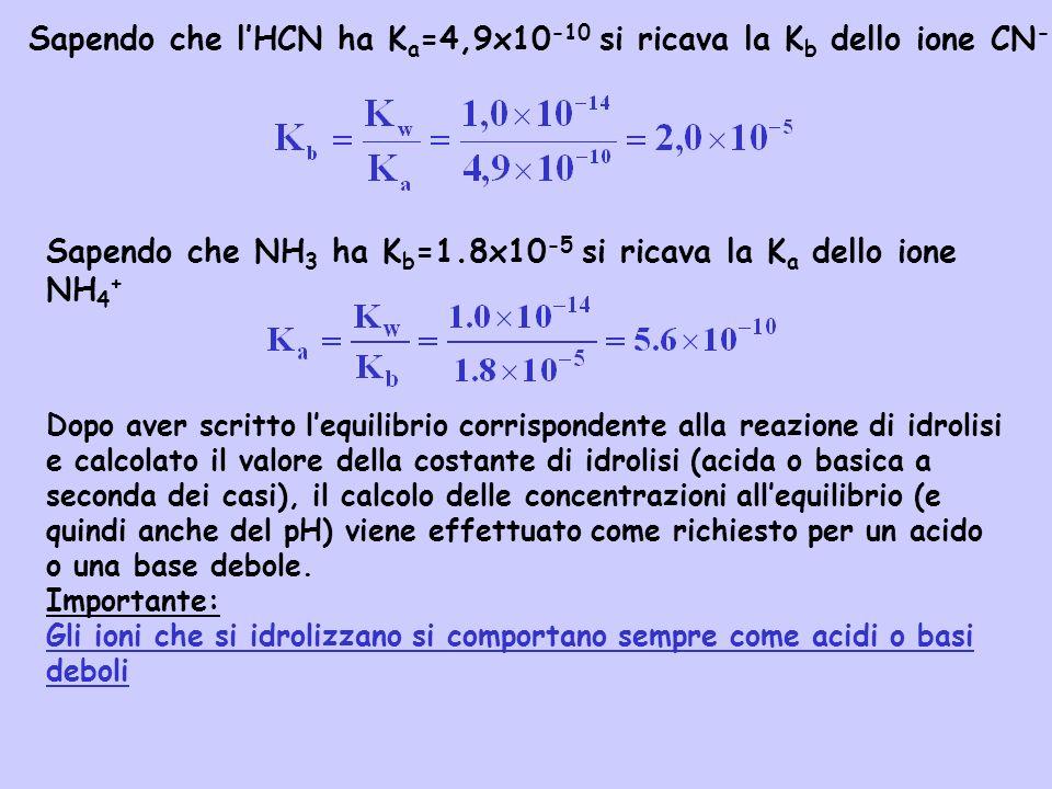 Sapendo che lHCN ha K a =4,9x10 -10 si ricava la K b dello ione CN - Sapendo che NH 3 ha K b =1.8x10 -5 si ricava la K a dello ione NH 4 + Dopo aver s
