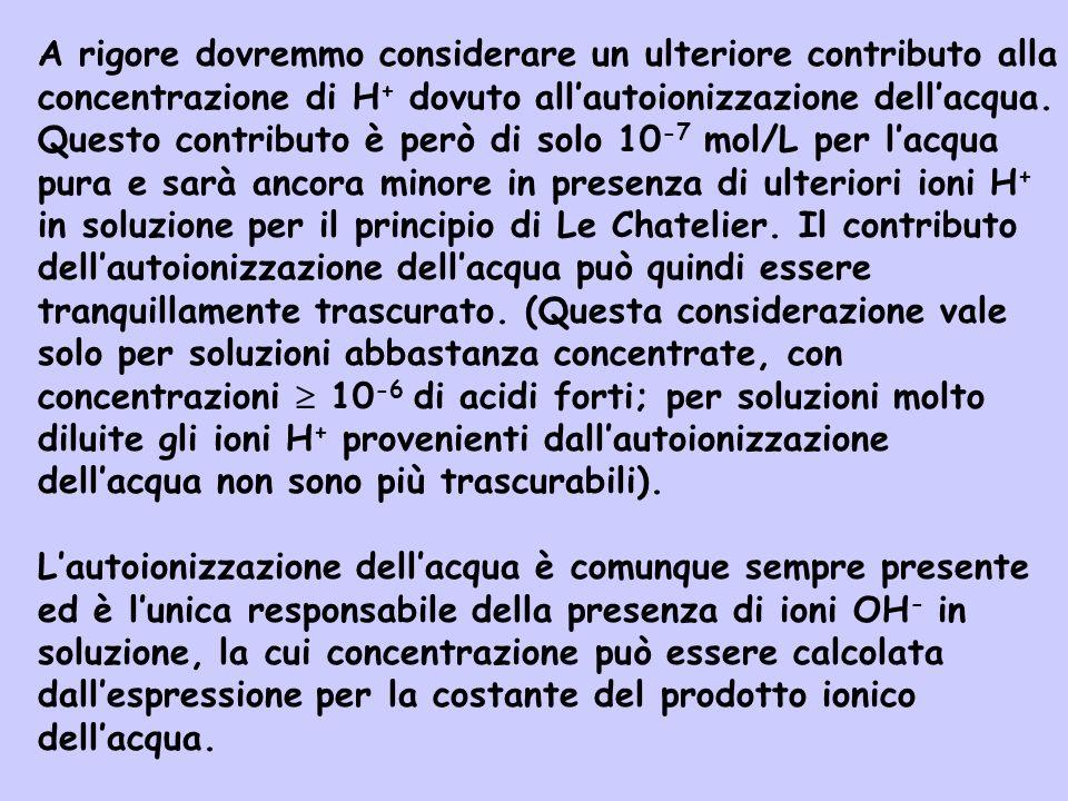2H 2 O(l) H 3 O + (aq) + OH - (aq) Effettuando il calcolo delle concentrazioni allequilibrio - [H 3 O + ]=0,10+10 -7 [OH - ]=10 -7 - -x -x - [H 3 O + ]=0,10+10 -7 -x [OH - ]=10 -7 -x ------------------------------------------- Iniz Var Eq Bisogna però osservare che x<10 -7 per cui si può assumere: - [H 3 O + ]~0,10 [OH - ]=10 -7 -x Eq