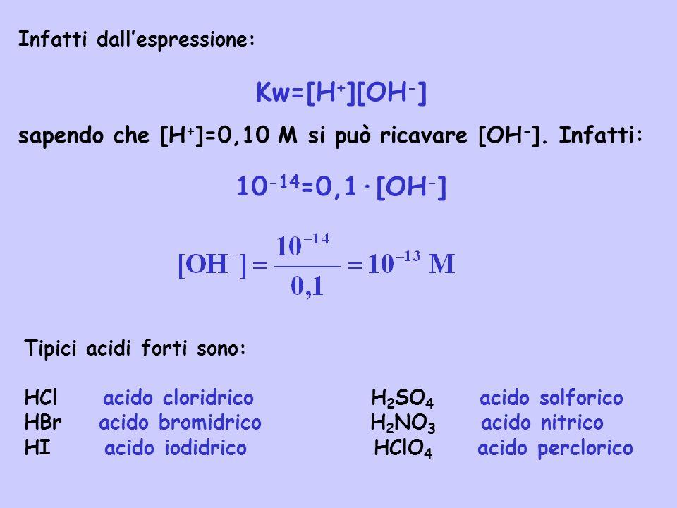 Una base forte è caratterizzato dal fatto che in soluzione acquosa si dissocia completamente in ioni OH - cioè: NaOH(aq) Na + (aq) + OH - (aq) H2OH2O Consideriamo ad esempio una soluzione 0,10 M di NaOH.