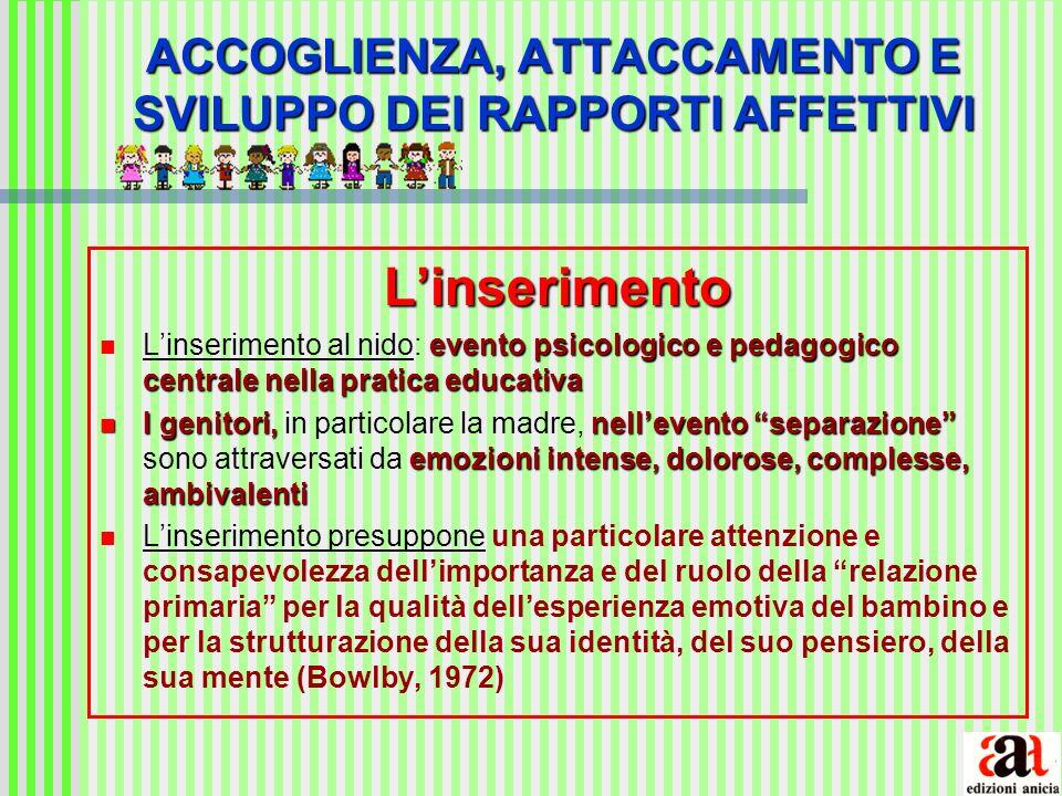 ACCOGLIENZA, ATTACCAMENTO E SVILUPPO DEI RAPPORTI AFFETTIVI Linserimento evento psicologico e pedagogico centrale nella pratica educativa Linserimento