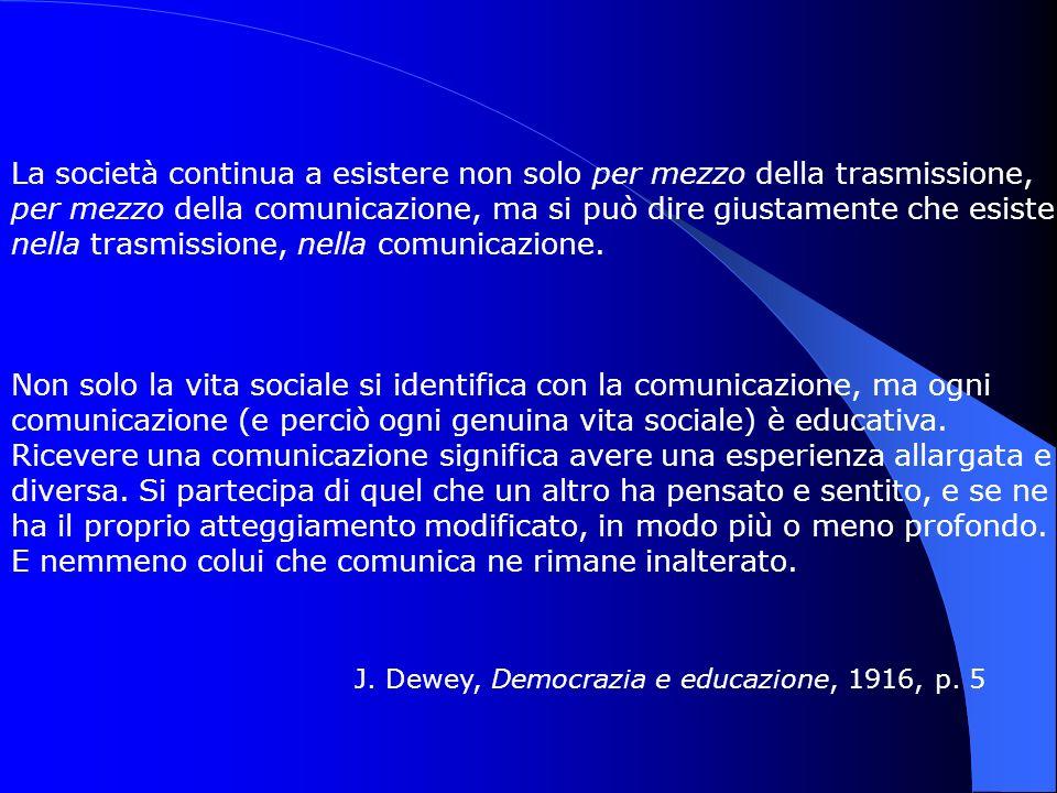 La società continua a esistere non solo per mezzo della trasmissione, per mezzo della comunicazione, ma si può dire giustamente che esiste nella trasm