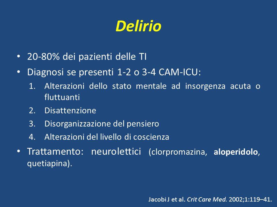 Delirio 20-80% dei pazienti delle TI Diagnosi se presenti 1-2 o 3-4 CAM-ICU: 1.Alterazioni dello stato mentale ad insorgenza acuta o fluttuanti 2.Disattenzione 3.Disorganizzazione del pensiero 4.Alterazioni del livello di coscienza Trattamento: neurolettici (clorpromazina, aloperidolo, quetiapina).