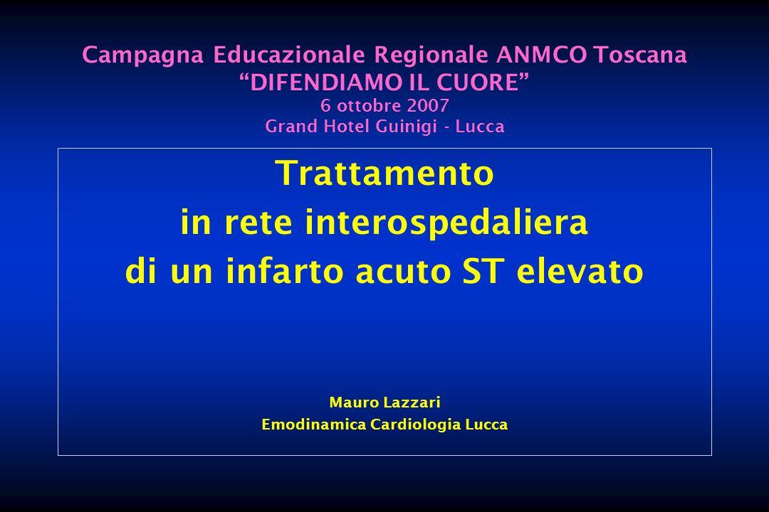 LABORATORIO EMODINAMICA LUCCA Caratteristiche PCI PCI durante coro 92 % multivaso 49.1% Con stent 95.8 % Stent/PCI (n° ) 1.6 N°pz trattati DES 45.8 % (DES/BMS: 33%) aspir.trombo (n° ) 35