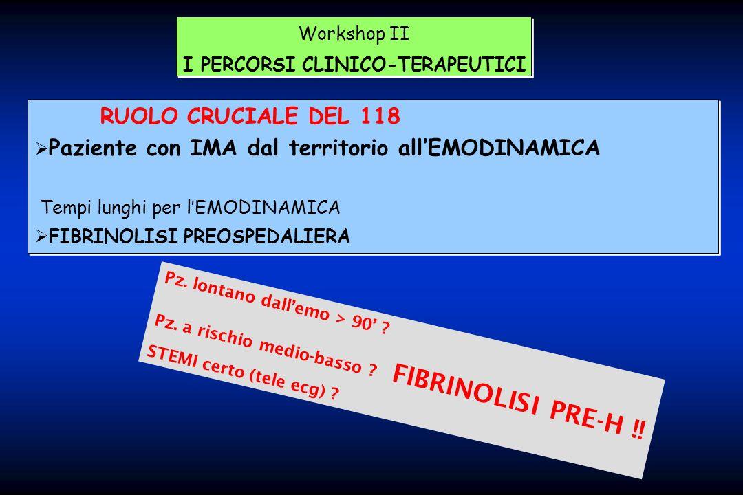 Workshop II I PERCORSI CLINICO-TERAPEUTICI Workshop II I PERCORSI CLINICO-TERAPEUTICI RUOLO CRUCIALE DEL 118 Paziente con IMA dal territorio allEMODIN