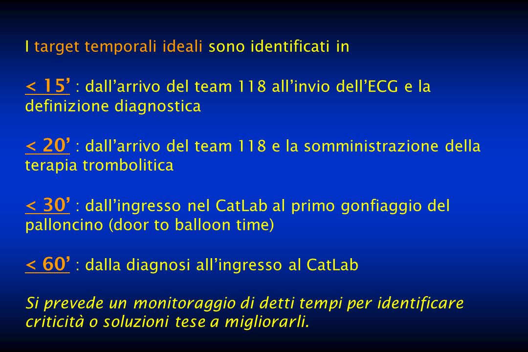 I target temporali ideali sono identificati in < 15 : dallarrivo del team 118 allinvio dellECG e la definizione diagnostica < 20 : dallarrivo del team