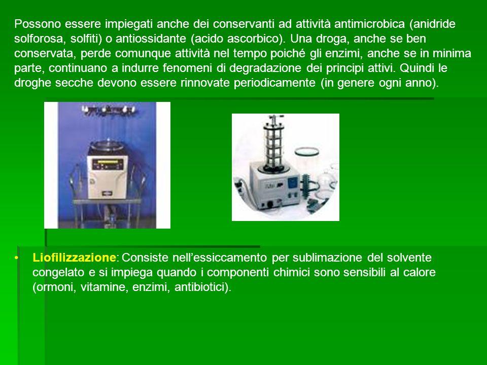 Liofilizzazione: Consiste nellessiccamento per sublimazione del solvente congelato e si impiega quando i componenti chimici sono sensibili al calore (