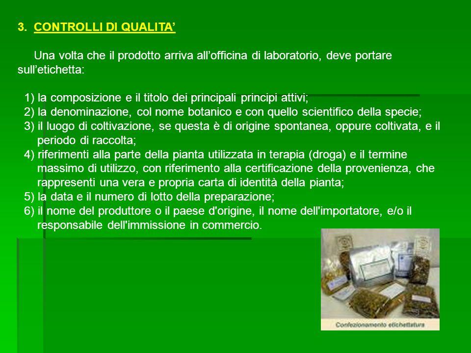 3. CONTROLLI DI QUALITA Una volta che il prodotto arriva allofficina di laboratorio, deve portare sulletichetta: 1) la composizione e il titolo dei pr