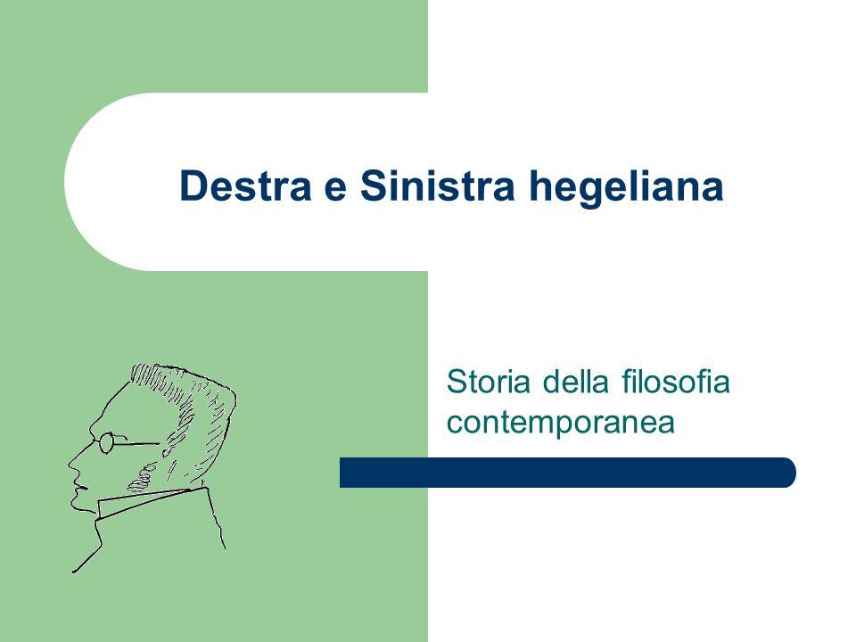 Destra e Sinistra hegeliana Storia della filosofia contemporanea