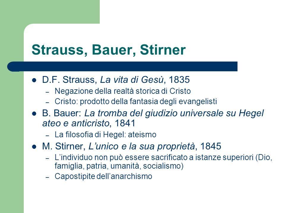 Strauss, Bauer, Stirner D.F. Strauss, La vita di Gesù, 1835 – Negazione della realtà storica di Cristo – Cristo: prodotto della fantasia degli evangel