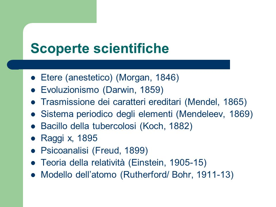 Scoperte scientifiche Etere (anestetico) (Morgan, 1846) Evoluzionismo (Darwin, 1859) Trasmissione dei caratteri ereditari (Mendel, 1865) Sistema perio