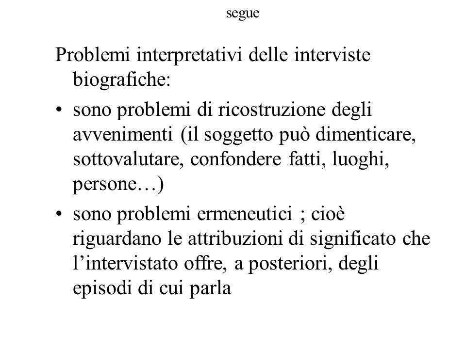 segue Problemi interpretativi delle interviste biografiche: sono problemi di ricostruzione degli avvenimenti (il soggetto può dimenticare, sottovaluta