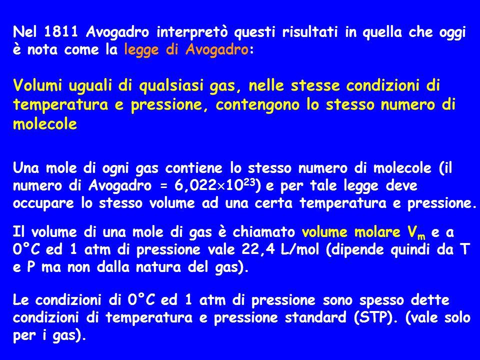 Una mole di ogni gas contiene lo stesso numero di molecole (il numero di Avogadro = 6,022 10 23 ) e per tale legge deve occupare lo stesso volume ad u