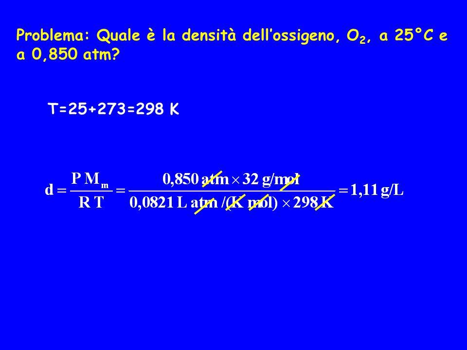 Problema: Quale è la densità dellossigeno, O 2, a 25°C e a 0,850 atm? T=25+273=298 K