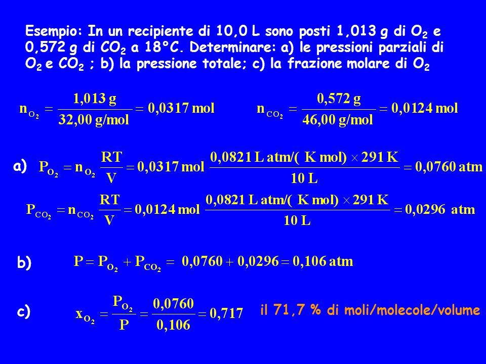 Esempio: In un recipiente di 10,0 L sono posti 1,013 g di O 2 e 0,572 g di CO 2 a 18°C. Determinare: a) le pressioni parziali di O 2 e CO 2 ; b) la pr