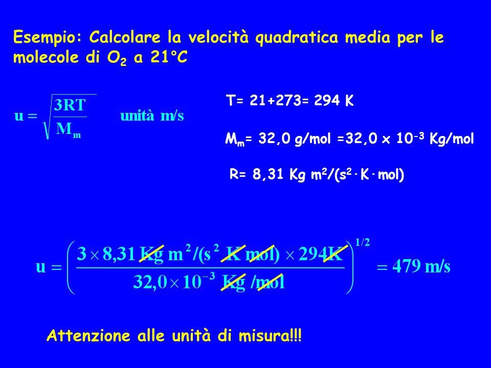 Esempio: Calcolare la velocità quadratica media per le molecole di O 2 a 21°C T= 21+273= 294 K M m = 32,0 g/mol =32,0 x 10 -3 Kg/mol R= 8,31 Kg m 2 /(