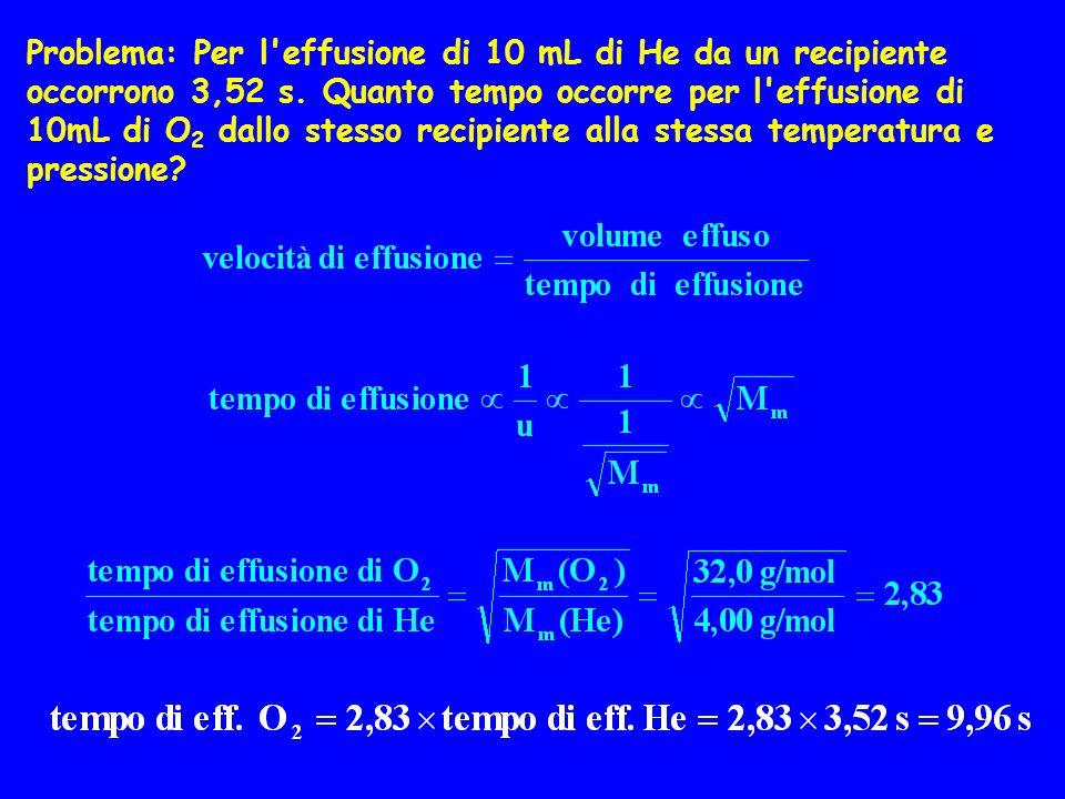 Problema: Per l'effusione di 10 mL di He da un recipiente occorrono 3,52 s. Quanto tempo occorre per l'effusione di 10mL di O 2 dallo stesso recipient