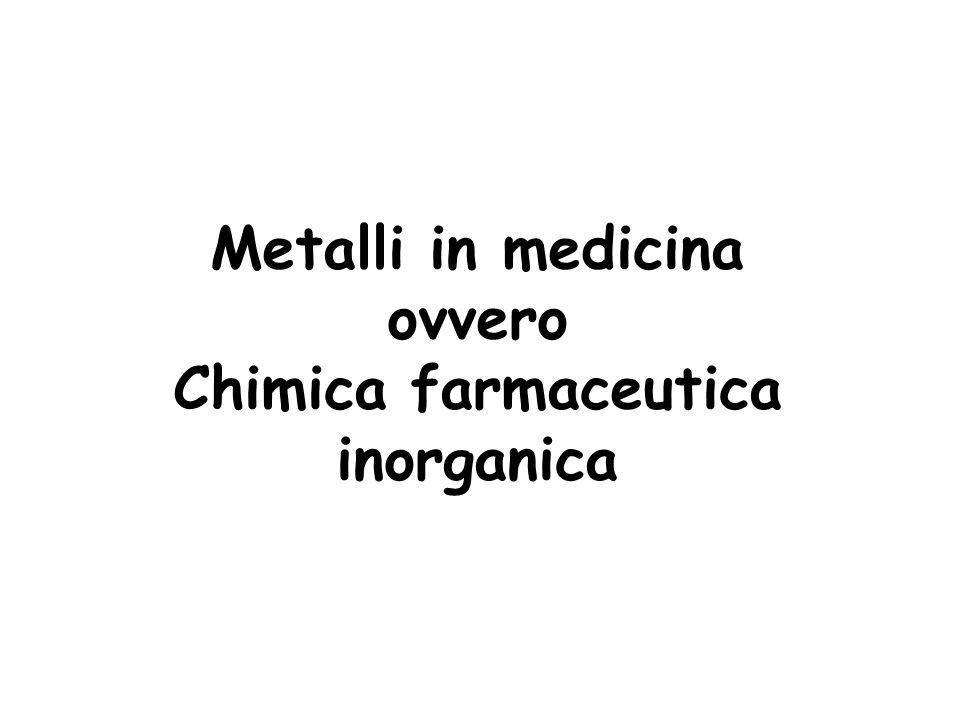 La chimica farmaceutica inorganica si occupa dellintroduzione di ioni metallici in un sistema biologico, sia che il metallo venga introdotto in maniera fortuita che in maniera intenzionale In maniera fortuita Avvelenamento da metalli Alterazione del metabolismo di metalli essenziali in seguito a malattie (ad es.