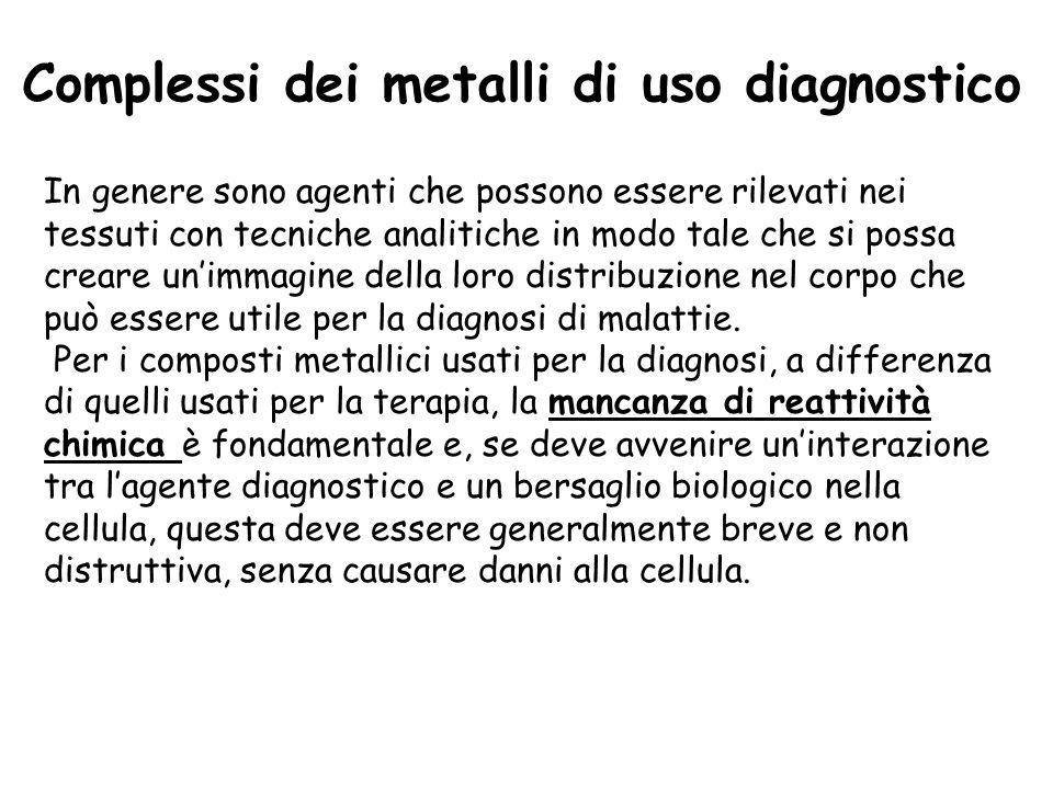 Complessi dei metalli di uso diagnostico In genere sono agenti che possono essere rilevati nei tessuti con tecniche analitiche in modo tale che si possa creare unimmagine della loro distribuzione nel corpo che può essere utile per la diagnosi di malattie.