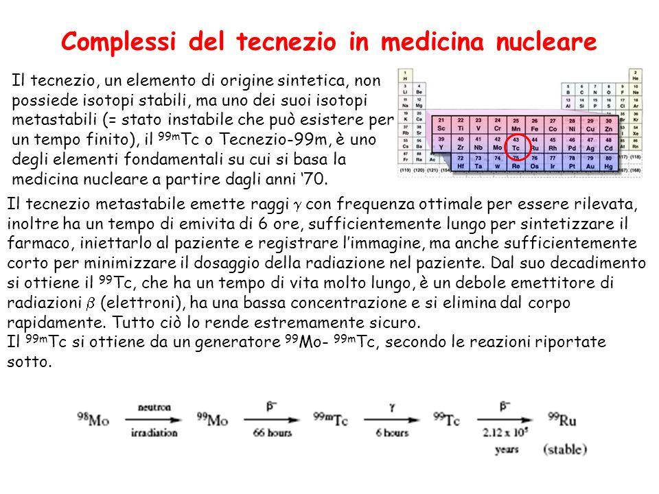 Complessi del tecnezio in medicina nucleare Il tecnezio, un elemento di origine sintetica, non possiede isotopi stabili, ma uno dei suoi isotopi metastabili (= stato instabile che può esistere per un tempo finito), il 99m Tc o Tecnezio-99m, è uno degli elementi fondamentali su cui si basa la medicina nucleare a partire dagli anni 70.