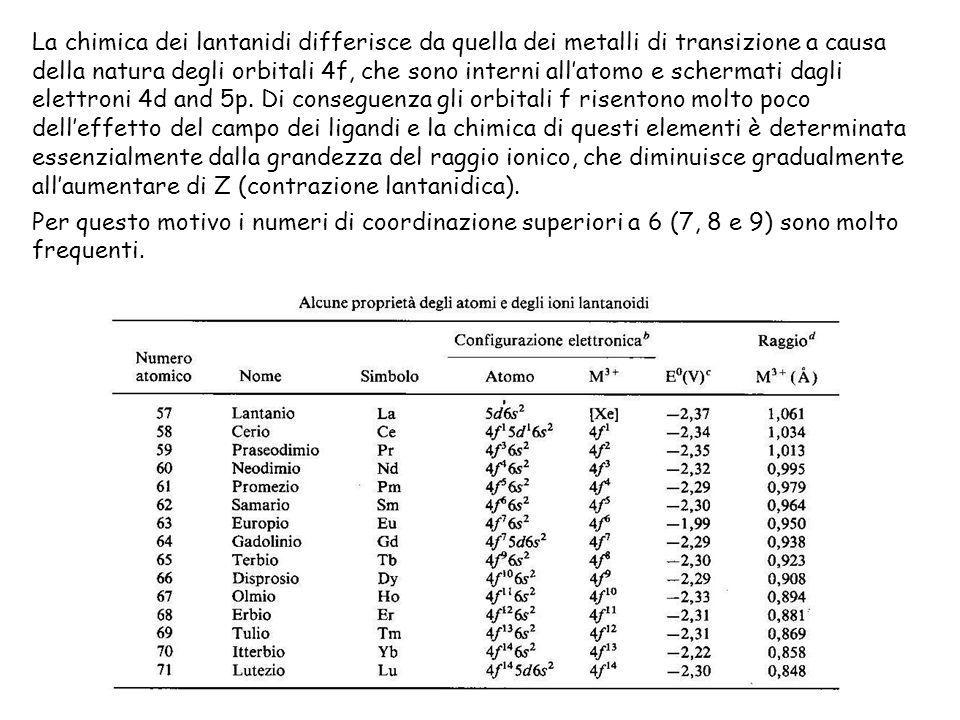 Per questo motivo i numeri di coordinazione superiori a 6 (7, 8 e 9) sono molto frequenti.