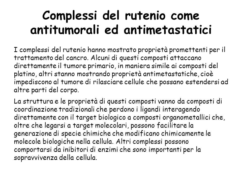 Complessi del rutenio come antitumorali ed antimetastatici I complessi del rutenio hanno mostrato proprietà promettenti per il trattamento del cancro.