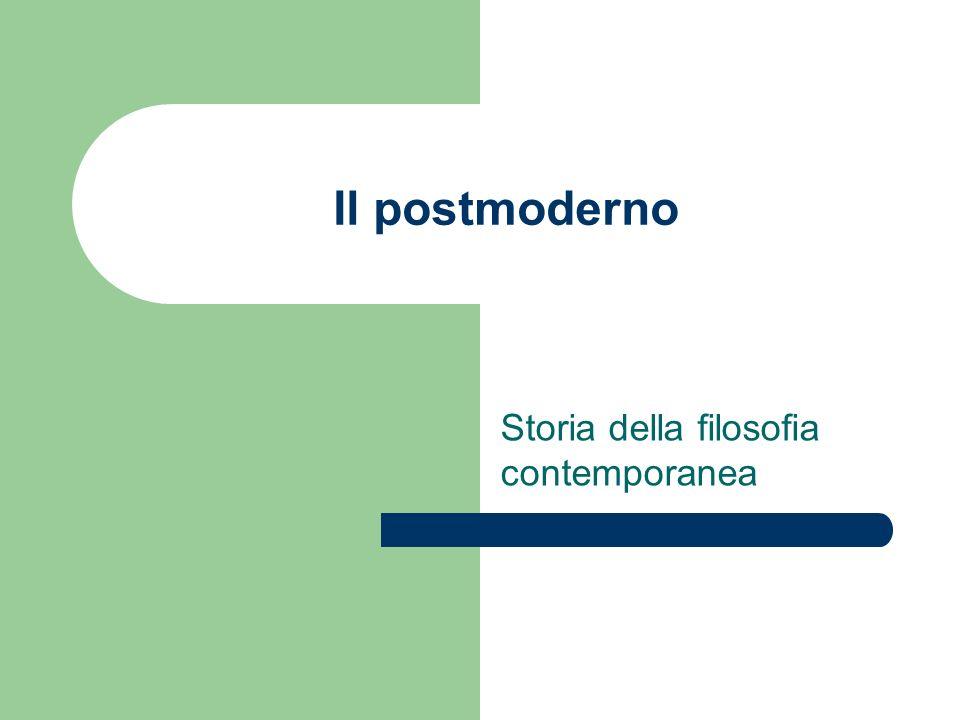 Il postmoderno filosofico Deleuze, Lyotard, Vattimo, Derrida La modernità (in alcuni suoi tratti essenziali) è finita Definizione per differenza rispetto al concetto di moderno