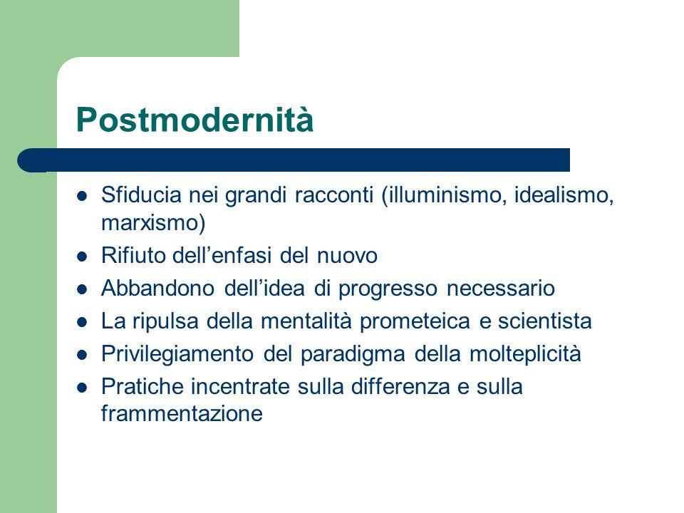 Postmodernità Sfiducia nei grandi racconti (illuminismo, idealismo, marxismo) Rifiuto dellenfasi del nuovo Abbandono dellidea di progresso necessario