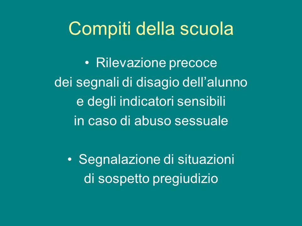 Compiti della scuola Rilevazione precoce dei segnali di disagio dellalunno e degli indicatori sensibili in caso di abuso sessuale Segnalazione di situ