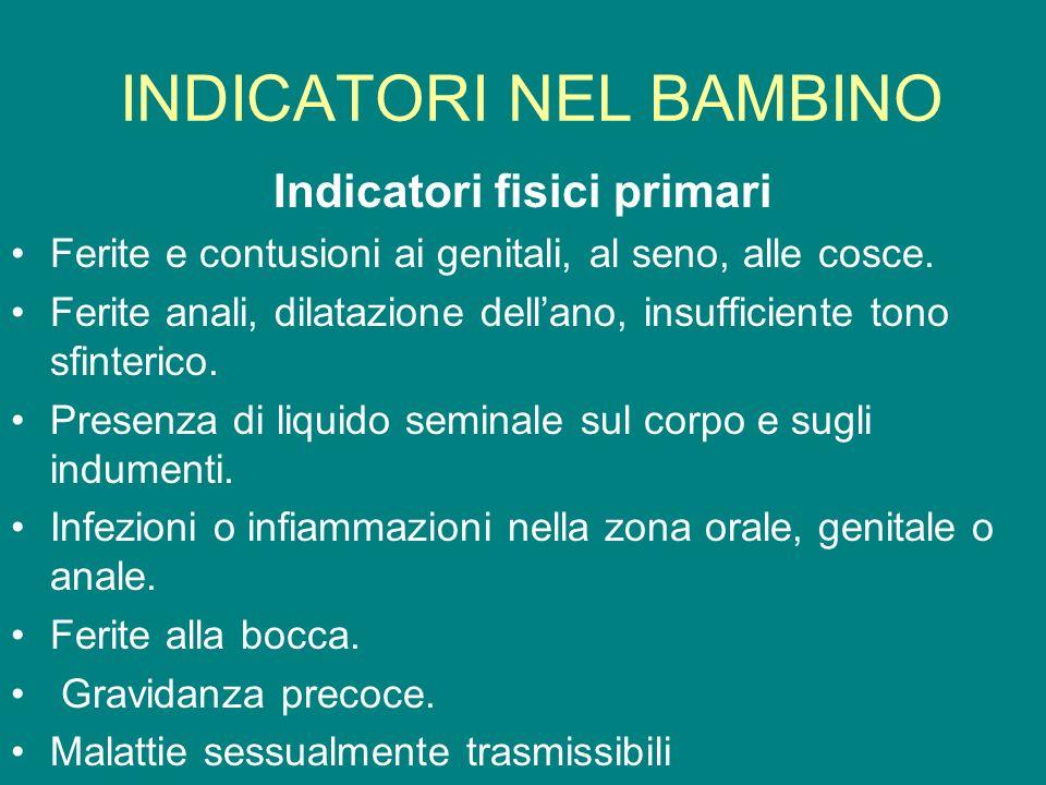 INDICATORI NEL BAMBINO Indicatori fisici primari Ferite e contusioni ai genitali, al seno, alle cosce. Ferite anali, dilatazione dellano, insufficient